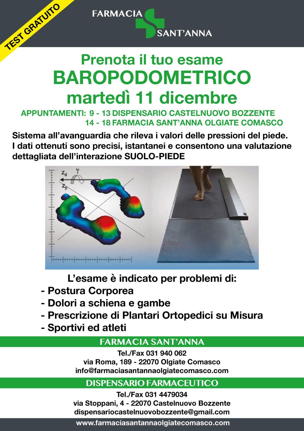 Farmacia Sant'Anna Olgiate Comasco prenota il tuo esame baropodometrico